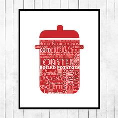 Kitchen Art Print Red Stock Pot by curlywillowco on Etsy, $10.00