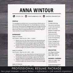 "Resumes ★ FLASH SALE - 20% off all templates. Use coupon code SHINEONBOGO and get a 2nd template FREE! Sale ends Friday March 31, 2017. ★ Need a resume design makeover? The instant download ""ANNA resume template has a modern and clean design with a simple, easy-to-read layout - the kind of resume that stands out and makes a strong first impression to employers. You can easily customize the template with straightforward MS Word formatting thats easy to write in, edit headers and change colors. A profe..."