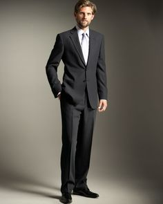 Armani Collezioni Two-Button Wool Crepe Navy Suit