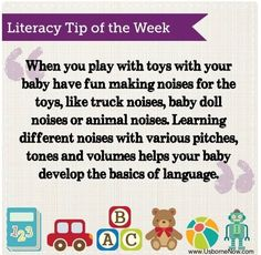 Literacy Tip - make noises for toys!! Free activity here: https://m.me/LibraryBookNook?ref=w3425711  Every Friday, Usborne Books & More and Library Book Nook will send you a free activity to do with the kids in your life.  www.LibraryBookNook.com    IG: LibraryBookNook    FB: fb.com/librarybooknook Infant Toddler Classroom, Consultant Business, Language Development, Helping Hands, Learn To Read, Literacy Quotes, Teaching Grammar, Early Literacy, Fun Activities For Kids