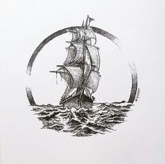 Art ink Sailboat drawing in black and white. Sailboat drawing in black and white. Sailboat Drawing, Ocean Drawing, Circle Drawing, Ship Drawing, Small Tattoo Designs, Small Tattoos, Tiny Tattoo, Temporary Tattoos, Tattoo Sketches