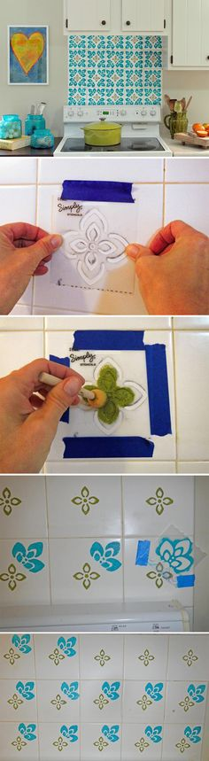 How to Paint and Stencil Backsplash Tile >> http://www.diynetwork.com/kitchen/how-to-paint-backsplash-tile/pictures/index.html?soc=pinterest