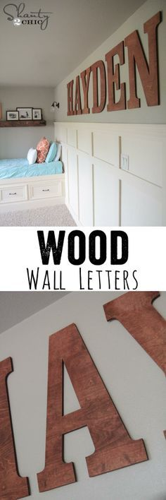 Stain and hang oversized wooden letters to personalize a child's room or add some fun to a playroom.