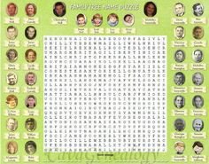 Family names word puzzle game place mat - Kids memorize their ancestors names when they look for them in a word puzzle, and connect the names with the faces.  On the back of the place mat there will be a complete family tree for them to better visualize how these ancestors are related to them.