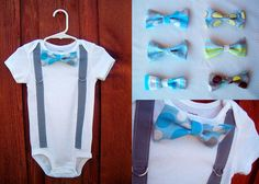 Boy Bowtie & Suspender Onesie or shirt  Blue and by shopantsypants