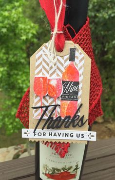 Homemade Cards by Erin: thanks for having us wine tag