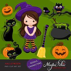 Imágenes Prediseñadas de Halloween con brujas lindas un
