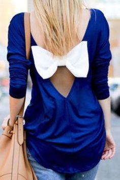 Scoop Collar Long Sleeve Bowknot Design Chiffon Blouse