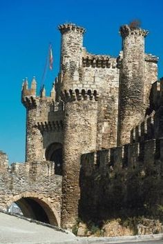 Los Templarios Castle in Ponferrada, Spain, was built upon a fortress in the early 12th century by the Knights Templar. Today it houses the Templars' Library and the Ponferrada Investigation and Study Centre.