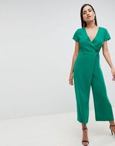 cfe94bd107ec Wrap Jumpsuit with horn button and culotte leg - ASOS Design Fun and  Different jumpsuit that