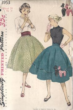 1954-1969 Costume for Women: one fad that took hold in the 50's was the full circle poodle skirt. These had felt poodles appliquéd onto the skirt.