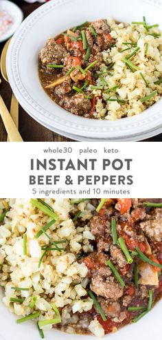 This Instant Pot beef with peppers can be whipped up within 10 minutes and using only 5 ingredients. A healthy, simple paleo dinner recipe that is also gluten- and dairy-free. dinner beef Instant Pot Beef with Peppers Paleo, Keto) Paleo Whole 30, Whole 30 Recipes, Paleo Dinner, Dinner Recipes, Dinner Healthy, Paleo Recipes, Real Food Recipes, Paleo Meals, Delicious Recipes