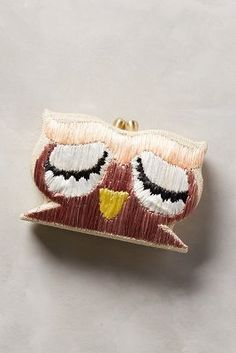 Serpui Marie Embroidered Owl Clutch Sand All Clutches #anthroregistry