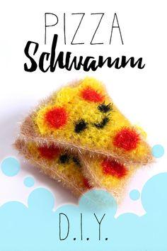DIY Pizza Schwamm selber häkeln aus Creative Bubble // Badeschwamm // Spülschwamm // Geschenk