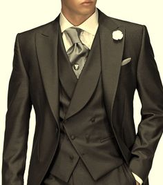 Cheap formal dress suits, Buy Quality slim fit suit directly from China groom suit Suppliers: FOLOBE Custom Made Handmade Dark Grey Men Slim Fits Suits Tuxedos Grooms Suits Long Wedding Suis Formal Dress Suits Groom Tuxedo, Tuxedo For Men, Wedding Men, Wedding Suits, Wedding Ideas, Terno Slim Fit, Morning Suits, Designer Suits For Men, Groomsmen Suits