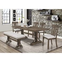 quincy dining set with bench by crown mark
