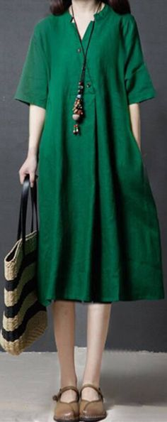 Cheap best Pure Color V-neck Pockets Casual Dresses for Women on Newchic, there is always a plus size casual dresse suits you! Vintage Dresses Online, Vintage Style Dresses, Casual Dresses For Women, Clothes For Women, Loose Dresses, Linen Dresses, Modest Dresses, Formal Dresses, 60 Fashion