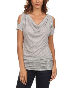 Loving this Gray Shoulder-Cutout Drape Top on #zulily! #zulilyfinds