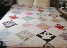 Patchwork Quilt Top - Scraps of fabric became bed linens @ Vintage Touch ~ SOLD