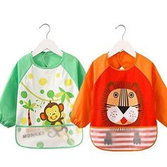 Oferta: 16.19€ Dto: -43%. Comprar Ofertas de Bebé lactancia alimentación baberos, bebé babero impermeable para bebé Orange-Lions +Green-Monkey barato. ¡Mira las ofertas!