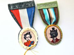 Royal Medal Military Art brooch The Queens by JessQuinnSmallArt