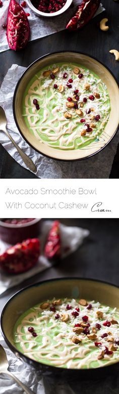 Avocado Smoothie Bowl with Cashew Cream - Ready in 5 minutes, protein packed and full of superfoods! This will be your new favorite detox breakfast! | Foodfaithfitness.com | @FoodFaithFit