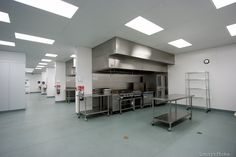 Commercial kitchen with four separate kitchen spaces available to rent by the hour