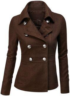 SJSP Womens Wool Blended Classic Pea Coat Jacket