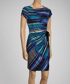 Shelby & Palmer Blue & Black Striking Stripes Short-Sleeve Dress | zulily