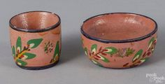 Pook & Pook. The Collection of J. Jefferson and Anne Weiler Miller. April 25th 2015 Lot 1244. Rare signed Joseph Lehn (Lancaster County, Pennsylvania 1798-1892), turned and painted poplar cup and saucer with floral decoration on a salmon ground, retaining its original paper label on underside, inscribed made by Joseph Lehn in the year 1888. Some small flakes to rim. Estimated: $1000 - $1500.