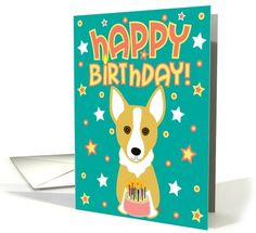 Happy Birthday - Corgi card (224379) by totallypainted