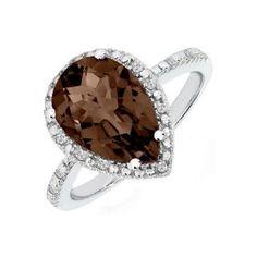 Smokey Quartz & Diamond Ring