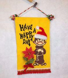 VTG Felt Christmas Wall Hanging Craft Decoration Happy Day Poinsettia Fringe 60s