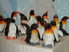 Elementary Art Lesson ceramic clay penguins 5th grade
