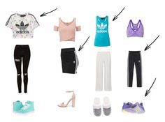 """Adidas casual,formal,pjamas and workout outfits"" by charlotte-schwartz ❤ liked on Polyvore featuring adidas Originals, Topshop, Vans, adidas, Lipsy, Steve Madden, Victoria's Secret, Zensah and Skin"