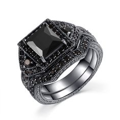 Castillna Black Sterling Silver Princess Cut Created Black Diamond Wedding Engagement Rings Bridal Set. Exquisite 14k black gold princess cut black diamond bridal rings set in sterling silver. Great as an engagement ring set or a wedding ring set or a fashion everyday ring. It can be worn together or seperately as one wishes. Metal: 925 sterling silver with 14k black gold plated coating. Material: simulated black spinel, black cubic zirconia. Princess Cut Stone Size: 7mm in diameter (its...
