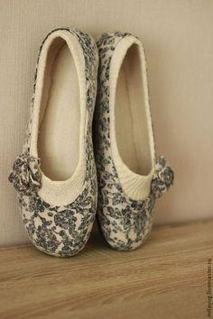 """Обувь ручной работы. Заказать """"Танго - 2"""" туфельки балетки валяные.. МилаЮг              авторская обувь. Ярмарка Мастеров. Розы"""