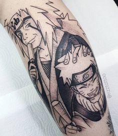 Artista: @rizztattoo - Porto Alegre. Dose dupla de amor: jiraiya e naruto O @rizztattoo tatua personagens que ele também curte e muito! Olha que demais! Chama aquele amigo ou amiga pra ver esse trabalho e passar vontade com você! hehehe Contato: rizz.fabricio@gmail.com Manga Tattoo, Anime Tattoos, Makeup Tattoos, Body Art Tattoos, Kakashi Tattoo, Japanese Sleeve Tattoos, Naruto Uzumaki Shippuden, Family Tattoos, Future Tattoos