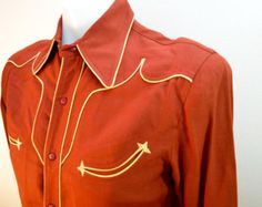Vintage CIRCLE A Western Snap Cowboy Shirt with Fancy Yoke and Sleeve Details 1950s