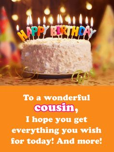 Happy Birthday Wishes Cousin, Cousin Birthday, Birthday Greetings For Daughter, Free Happy Birthday Cards, Happy Birthday Black, Happy Birthday Quotes For Friends, Birthday Wishes And Images, Happy Birthday Flower, Happy Birthday Messages
