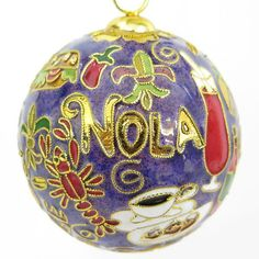 STATE OF LOUISIANA themed handcrafted, 24k gold plated cloisonne ornament - www.KittyKeller.com