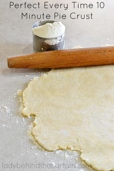 Perfect Every Time 10 Minute Pie Crust. A tender, easy, no fail crust that can be used for any dessert that calls for a pie crust. Just like Grandma u Pie Dough Recipe, Pie Crust Recipes, Pie Crusts, Pie Dessert, Dessert Recipes, Just Desserts, Delicious Desserts, No Fail Pie Crust, Bread Baking