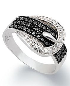 Victoria Townsend Sterling Silver Ring, Black Diamond (1/4 ct. t.w.) and White Diamond Accent Buckle Ring - Specials - Jewelry & Watches - Macy's
