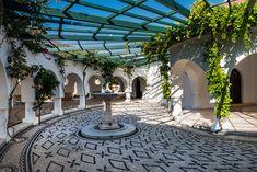 Kalithea Springs Therme Beautiful Typical Greek  Interior, Rhode Greece Travel, Rhodes, Wedding Venues, Greek, Patio, Interior, Outdoor Decor, Beautiful, Home Decor
