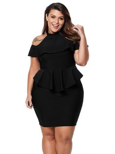 Plus Size Bodycon Dress Short Sleeve Cold Shoulder Peplum Tight Dress Plus Size Bodycon Dresses, Plus Size Party Dresses, Bodycon Dress Parties, Tight Dresses, Plus Size Dresses, Plus Size Outfits, Short Sleeve Dresses, Lounge Dresses, Dressy Dresses