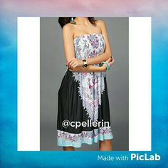 Boho Strapless Fashion Dress Printed boho style strapless dress. Colors of rich magenta, aqua, white, and black. Lightweight and cool. Would fit small or medium Dresses Strapless