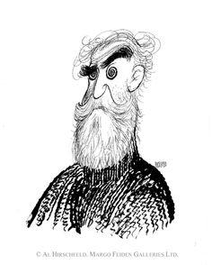 """Al Hirschfeld : """"Self Portrait in my wooly sweater""""."""