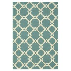 Ventura Geometric Turquoise & Ivory Indoor/Outdoor Area Rug