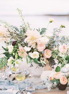 Wedding tablescape with white dahlias