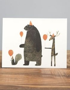 Jon Klassen Card - Party Animals